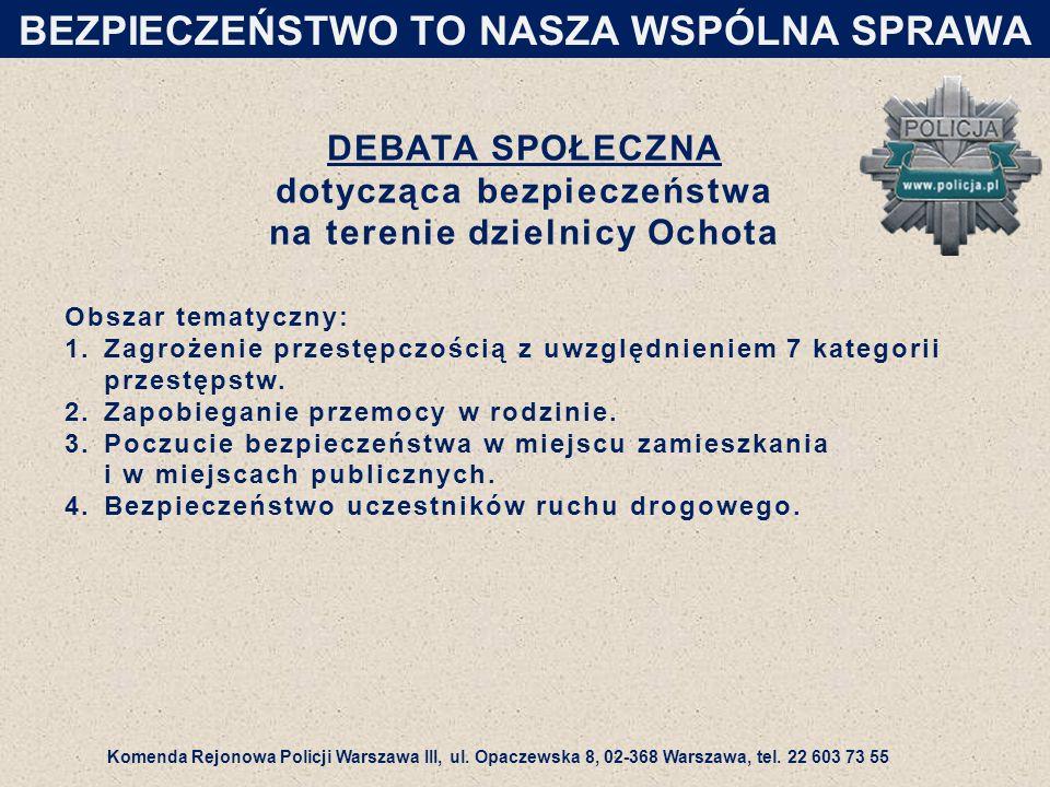 DEBATA SPOŁECZNA dotycząca bezpieczeństwa na terenie dzielnicy Ochota Obszar tematyczny: 1.Zagrożenie przestępczością z uwzględnieniem 7 kategorii przestępstw.