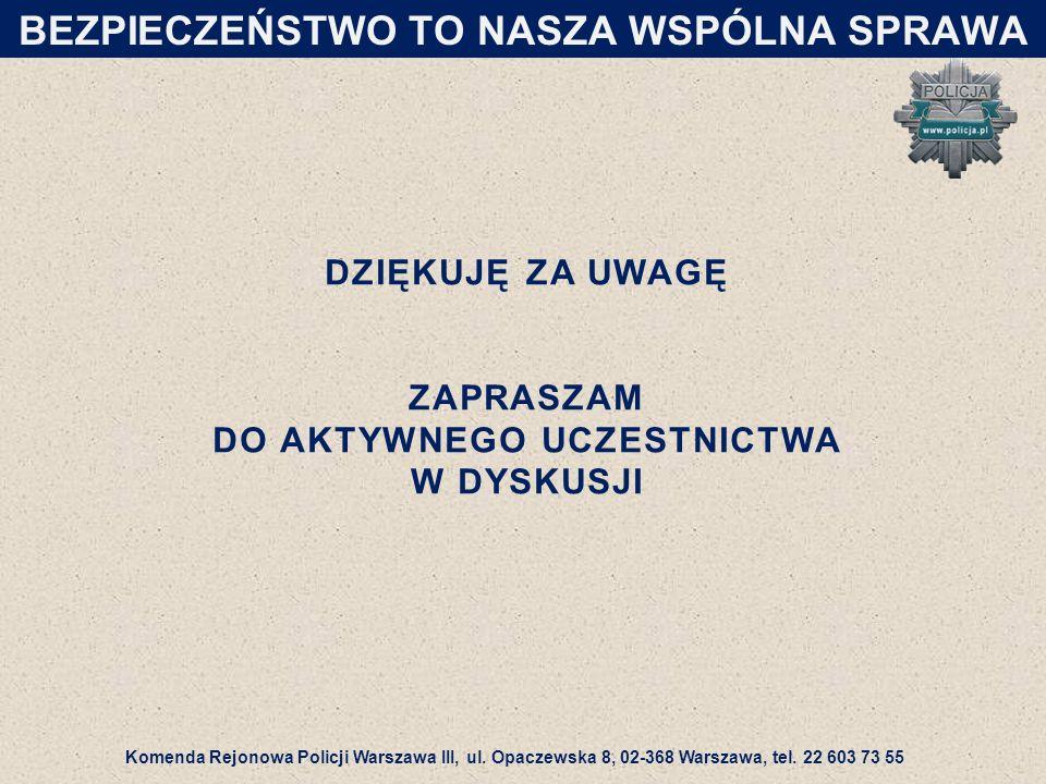 DZIĘKUJĘ ZA UWAGĘ ZAPRASZAM DO AKTYWNEGO UCZESTNICTWA W DYSKUSJI Komenda Rejonowa Policji Warszawa III, ul.