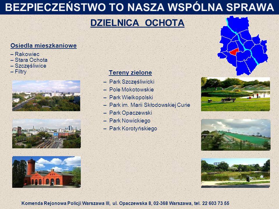DZIELNICA OCHOTA Tereny zielone –Park Szczęśliwicki –Pole Mokotowskie –Park Wielkopolski –Park im.