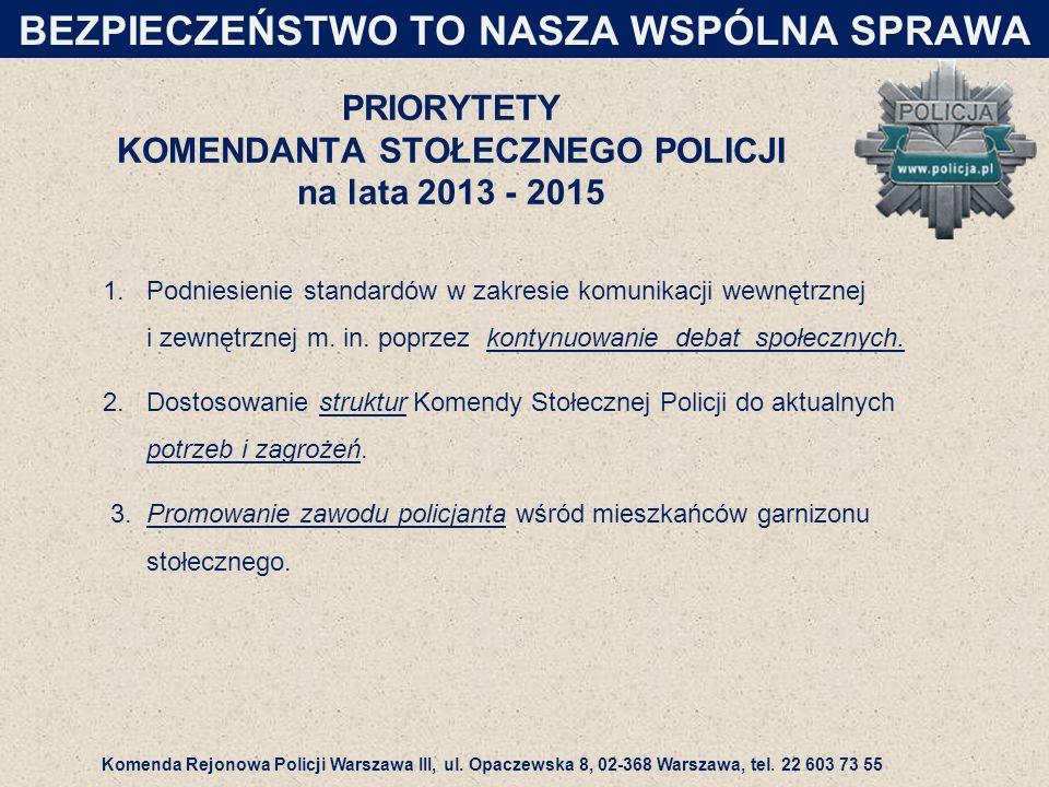 PRIORYTETY KOMENDANTA STOŁECZNEGO POLICJI na lata 2013 - 2015 1.