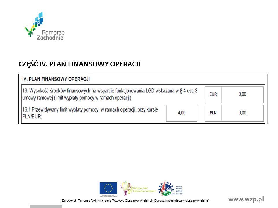 www.wzp.p l Europejski Fundusz Rolny na rzecz Rozwoju Obszarów Wiejskich: Europa inwestująca w obszary wiejskie CZĘŚĆ IV.