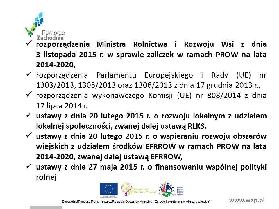 www.wzp.p l Europejski Fundusz Rolny na rzecz Rozwoju Obszarów Wiejskich: Europa inwestująca w obszary wiejskie II.