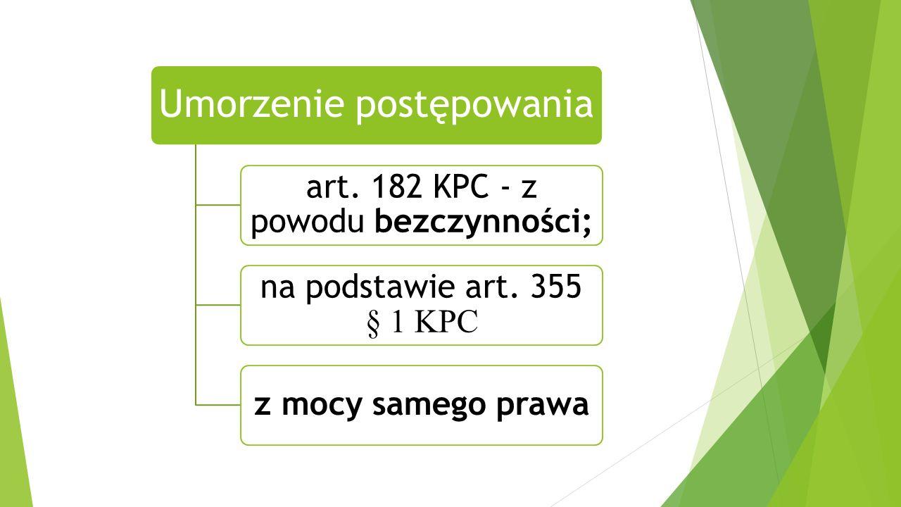 Umorzenie postępowania art. 182 KPC - z powodu bezczynności; na podstawie art.