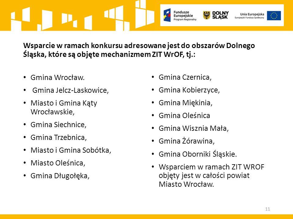 Wsparcie w ramach konkursu adresowane jest do obszarów Dolnego Śląska, które są objęte mechanizmem ZIT WrOF, tj.: Gmina Wrocław.