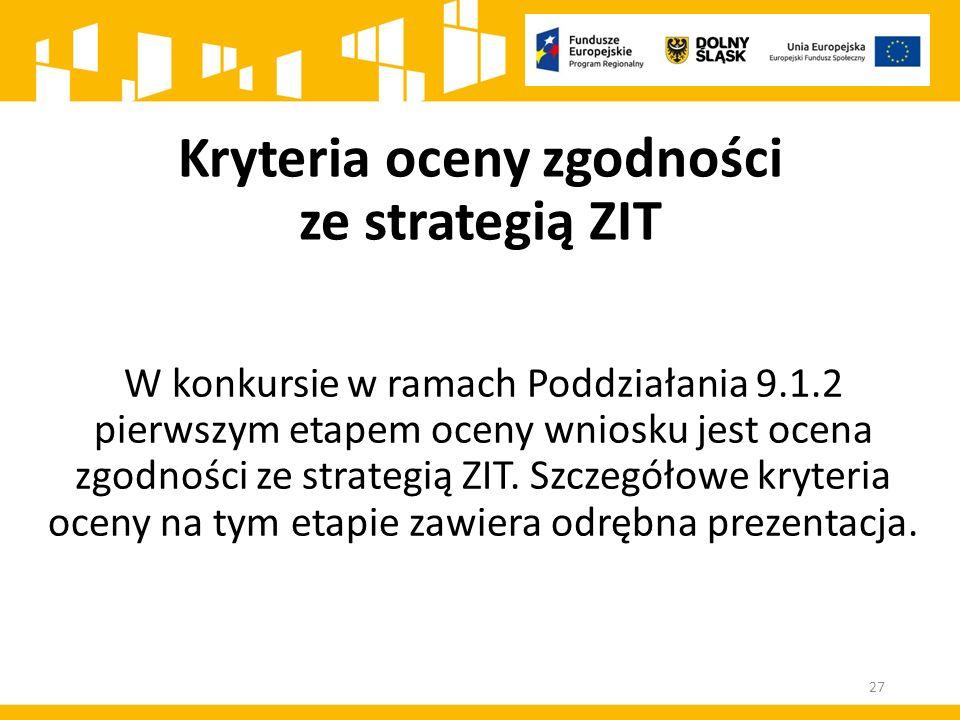 W konkursie w ramach Poddziałania 9.1.2 pierwszym etapem oceny wniosku jest ocena zgodności ze strategią ZIT.
