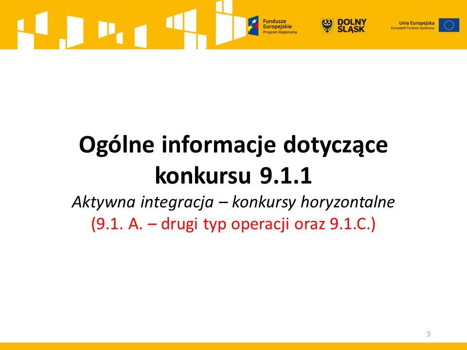 Ogólne informacje dotyczące konkursu 9.1.1 Aktywna integracja – konkursy horyzontalne (9.1.