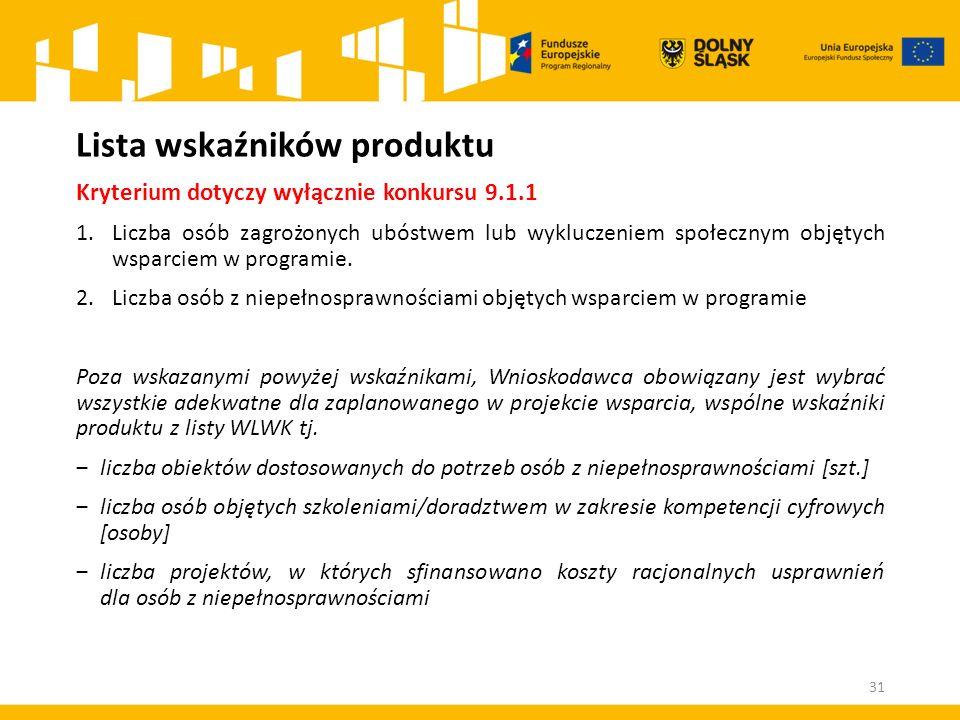 Lista wskaźników produktu Kryterium dotyczy wyłącznie konkursu 9.1.1 1.Liczba osób zagrożonych ubóstwem lub wykluczeniem społecznym objętych wsparciem w programie.
