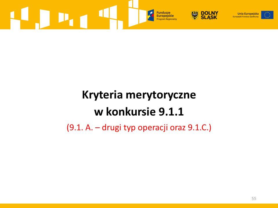 Kryteria merytoryczne w konkursie 9.1.1 (9.1. A. – drugi typ operacji oraz 9.1.C.) 55