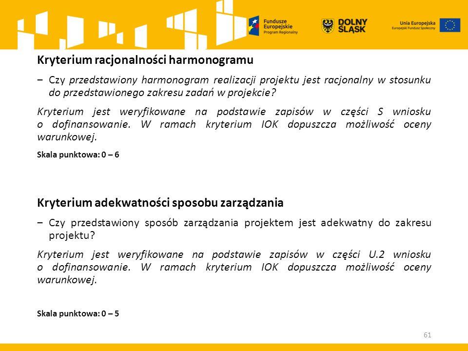 Kryterium racjonalności harmonogramu ‒Czy przedstawiony harmonogram realizacji projektu jest racjonalny w stosunku do przedstawionego zakresu zadań w projekcie.