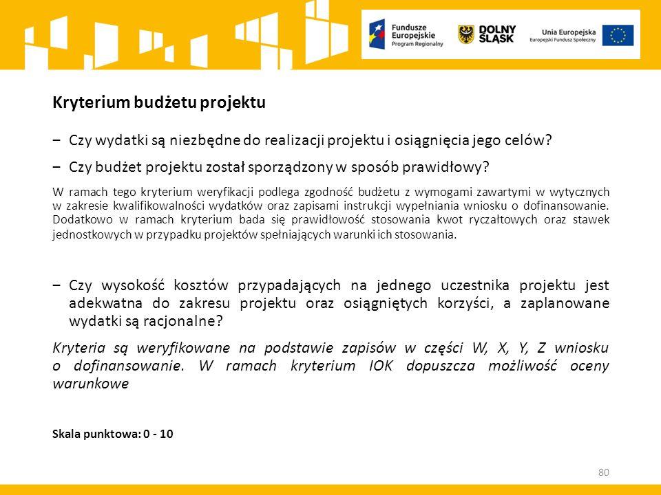 Kryterium budżetu projektu ‒Czy wydatki są niezbędne do realizacji projektu i osiągnięcia jego celów.