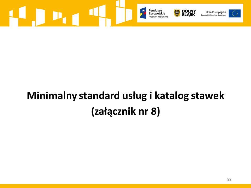 Minimalny standard usług i katalog stawek (załącznik nr 8) 89