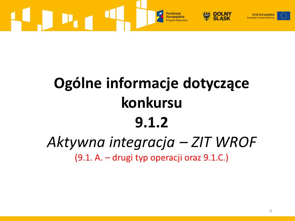 Ogólne informacje dotyczące konkursu 9.1.2 Aktywna integracja – ZIT WROF (9.1.