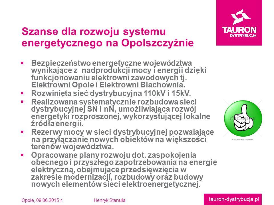 Opole, 09.06.2015 r.Henryk Stanula tauron-dystrybucja.pl  Bezpieczeństwo energetyczne województwawynikające z nadprodukcji mocy i energii dziękifunkc