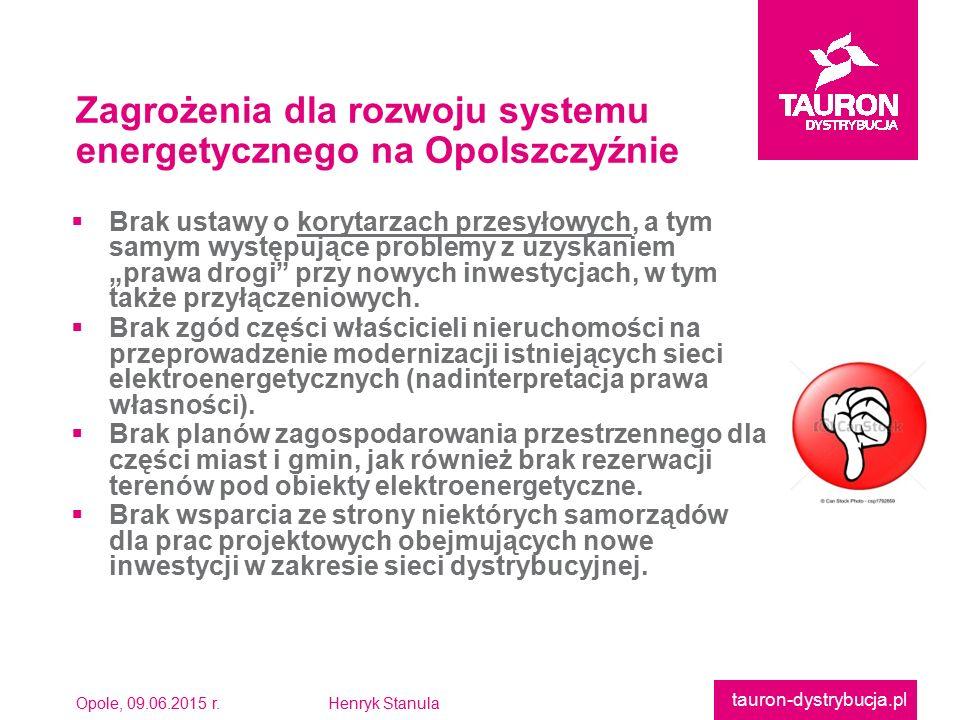 """Opole, 09.06.2015 r.Henryk Stanula tauron-dystrybucja.pl  Brak ustawy o korytarzach przesyłowych, a tym samym występujące problemy z uzyskaniem""""prawa drogi przy nowych inwestycjach, w tymtakże przyłączeniowych."""