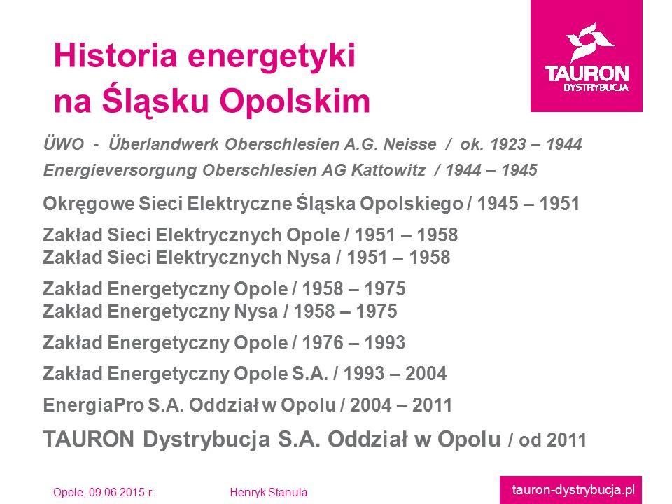 Opole, 09.06.2015 r.Henryk Stanula tauron-dystrybucja.pl Historia energetyki na Śląsku Opolskim ÜWO - Überlandwerk Oberschlesien A.G. Neisse / ok. 192
