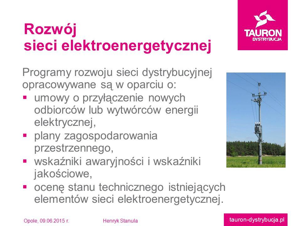 Opole, 09.06.2015 r.Henryk Stanula tauron-dystrybucja.pl Programy rozwoju sieci dystrybucyjnejopracowywane są w oparciu o:  umowy o przyłączenie nowy