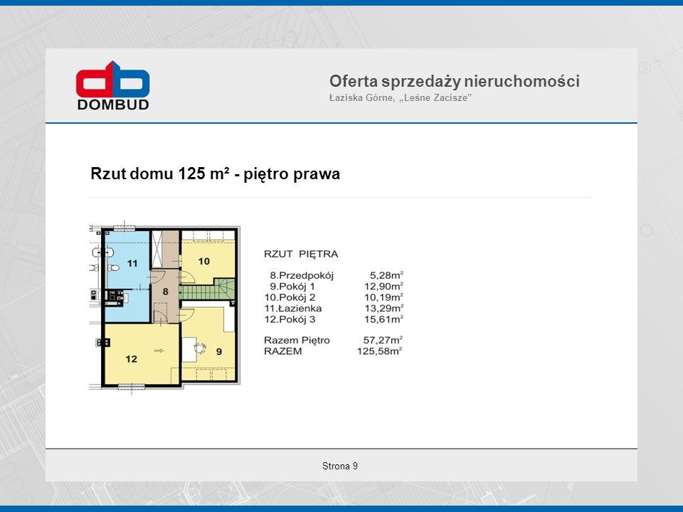 """Strona 9 Rzut domu 125 m² - piętro prawa Oferta sprzedaży nieruchomości Łaziska Górne, """"Leśne Zacisze"""