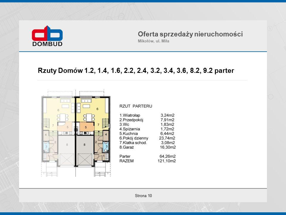 Strona 10 Rzuty Domów 1.2, 1.4, 1.6, 2.2, 2.4, 3.2, 3.4, 3.6, 8.2, 9.2 parter Oferta sprzedaży nieruchomości Mikołów, ul.