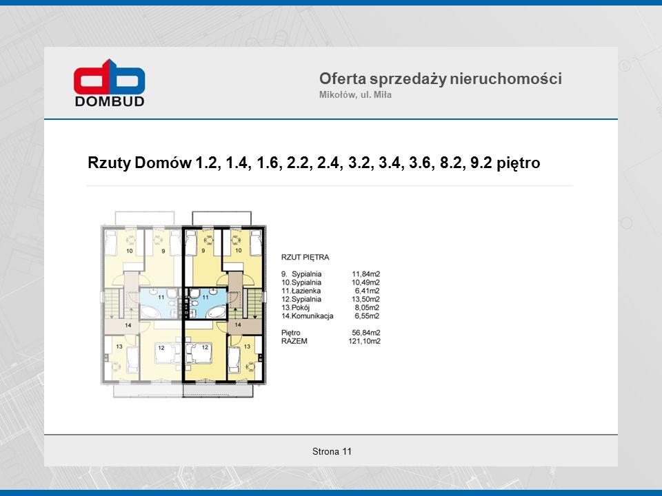 Strona 11 Rzuty Domów 1.2, 1.4, 1.6, 2.2, 2.4, 3.2, 3.4, 3.6, 8.2, 9.2 piętro Oferta sprzedaży nieruchomości Mikołów, ul.