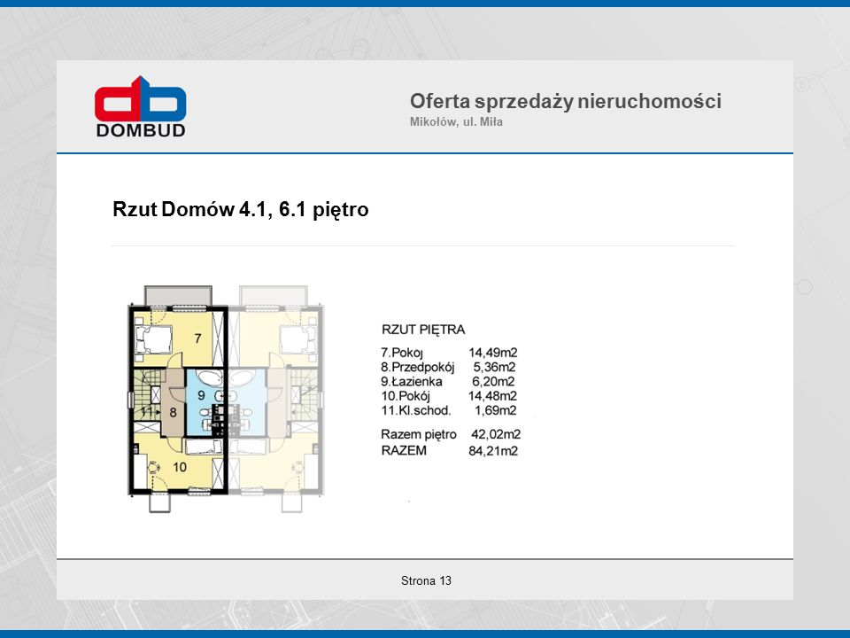 Strona 13 Rzut Domów 4.1, 6.1 piętro Oferta sprzedaży nieruchomości Mikołów, ul. Miła