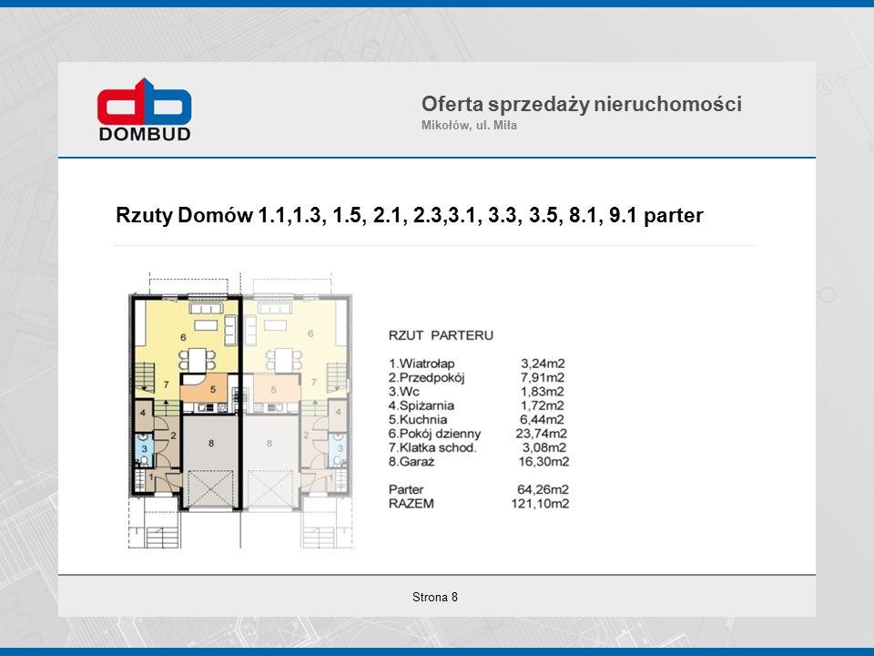 Strona 8 Rzuty Domów 1.1,1.3, 1.5, 2.1, 2.3,3.1, 3.3, 3.5, 8.1, 9.1 parter Oferta sprzedaży nieruchomości Mikołów, ul.