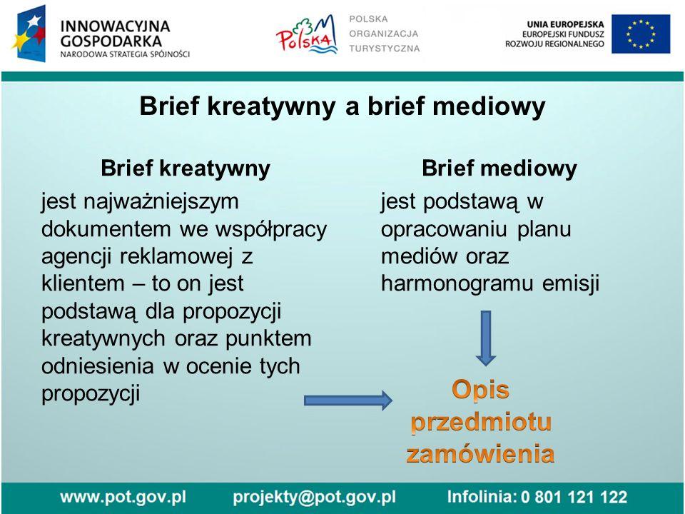 Brief kreatywny a brief mediowy Brief kreatywny jest najważniejszym dokumentem we współpracy agencji reklamowej z klientem – to on jest podstawą dla p