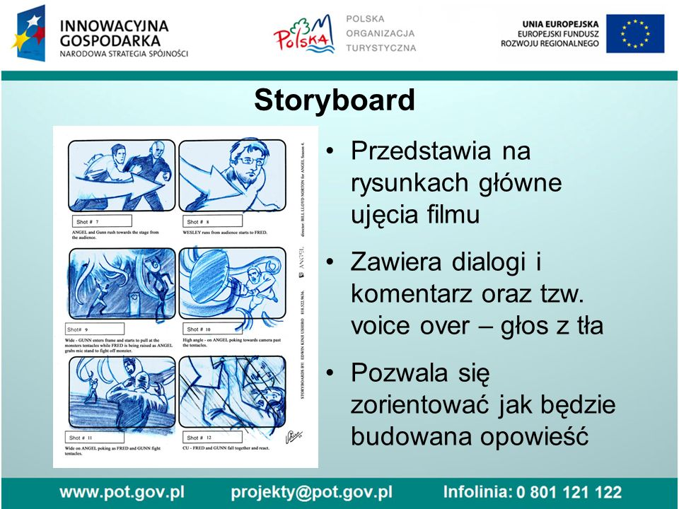 Storyboard Przedstawia na rysunkach główne ujęcia filmu Zawiera dialogi i komentarz oraz tzw. voice over – głos z tła Pozwala się zorientować jak będz