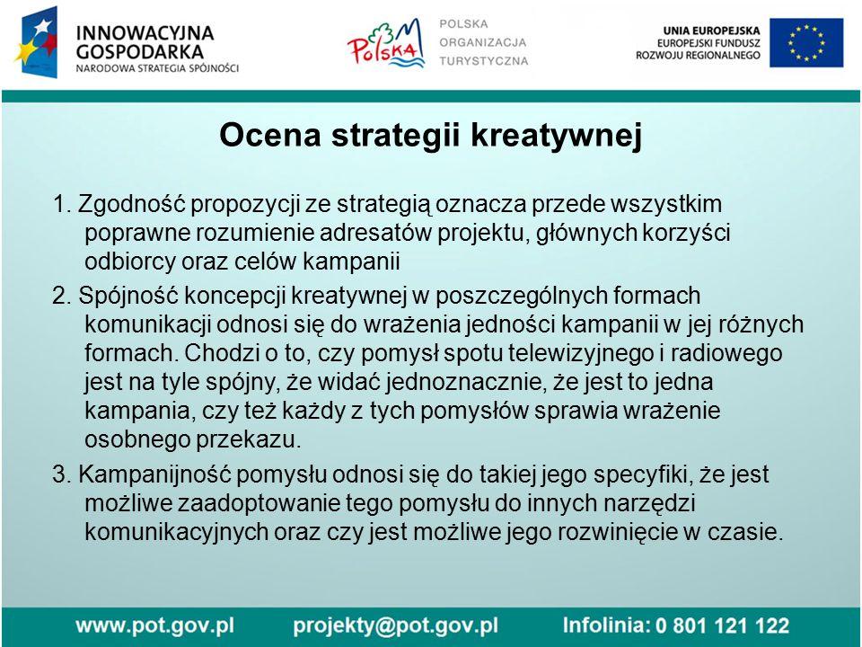 Ocena strategii kreatywnej 1. Zgodność propozycji ze strategią oznacza przede wszystkim poprawne rozumienie adresatów projektu, głównych korzyści odbi