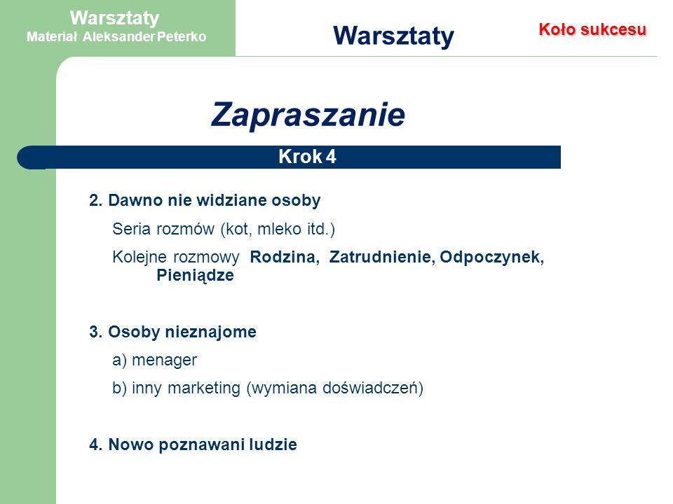 Zapraszanie Warsztaty Krok 4 Oto inne propozycje zapraszania: telefoniczne osobiste przez sponsora pisemne 1.