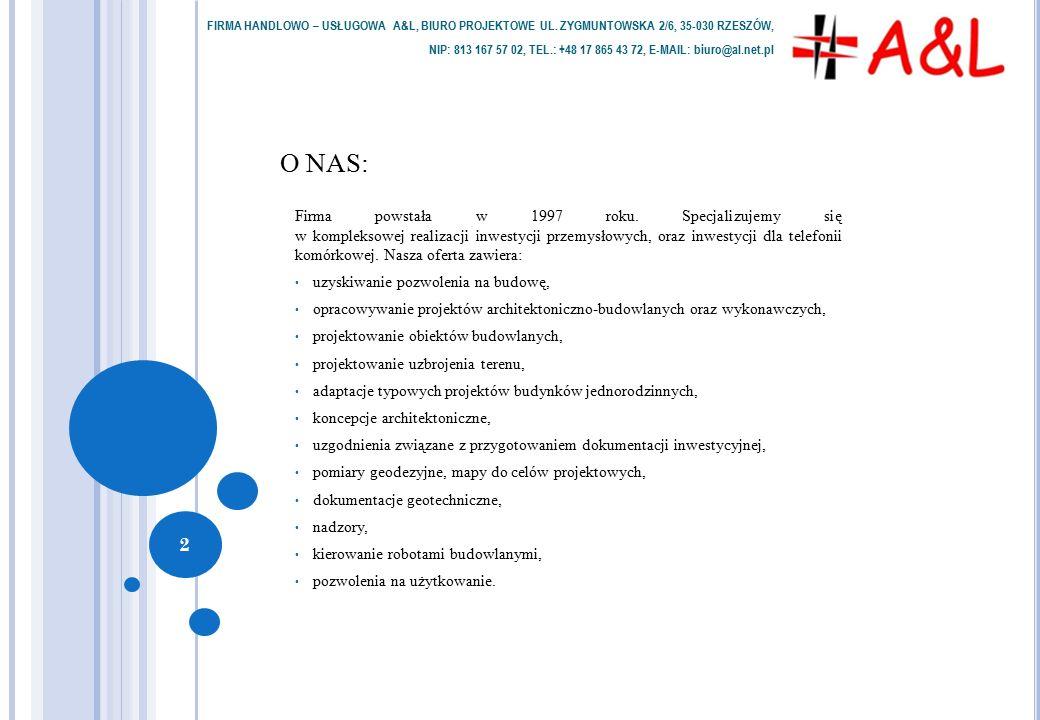 O NAS: Firma powstała w 1997 roku. Specjalizujemy się w kompleksowej realizacji inwestycji przemysłowych, oraz inwestycji dla telefonii komórkowej. Na