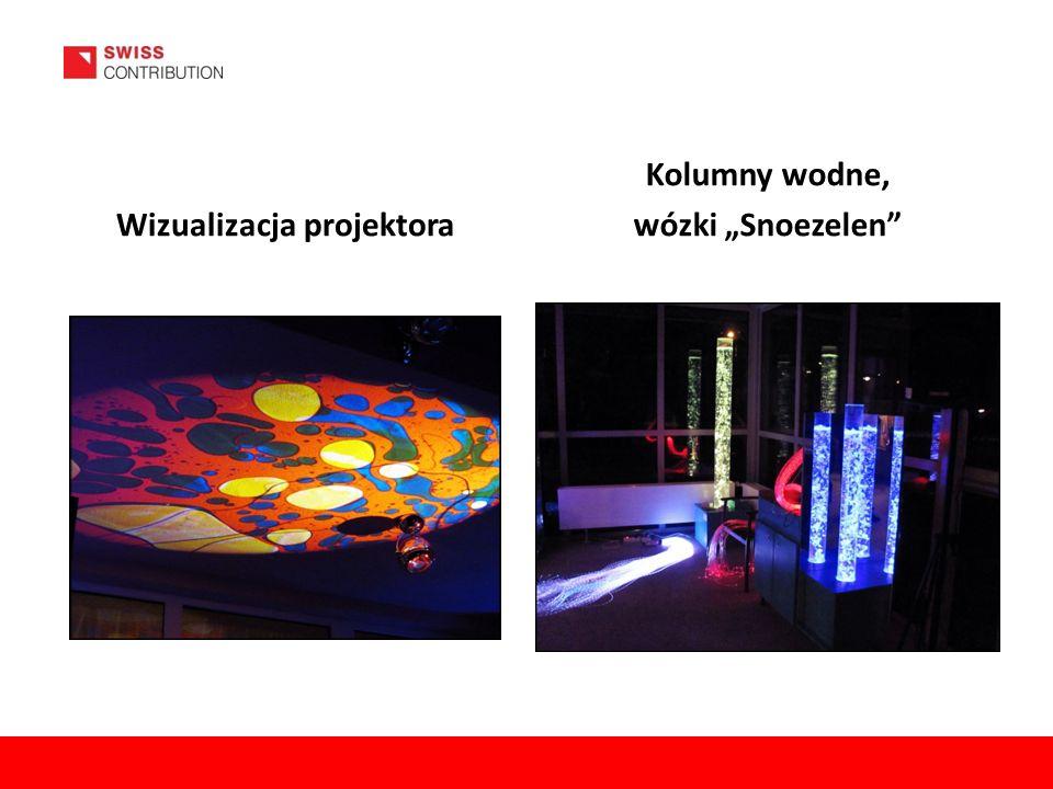"""Wizualizacja projektora Kolumny wodne, wózki """"Snoezelen"""