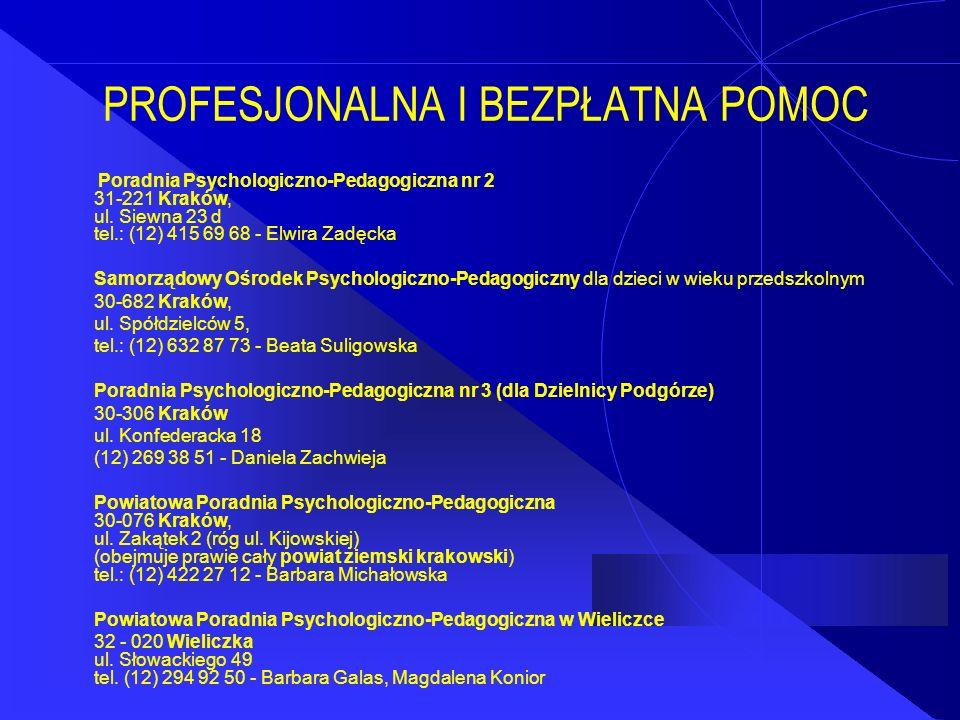 PROFESJONALNA I BEZPŁATNA POMOC Poradnia Psychologiczno-Pedagogiczna nr 2 31-221 Kraków, ul. Siewna 23 d tel.: (12) 415 69 68 - Elwira Zadęcka Samorzą