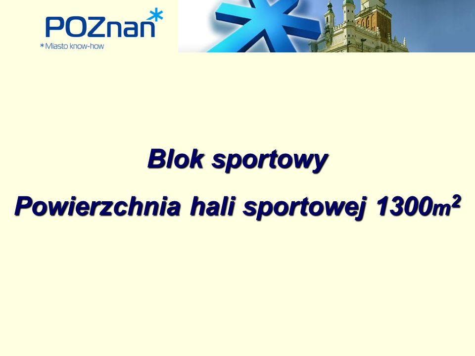 Blok sportowy Powierzchnia hali sportowej 1300 m 2