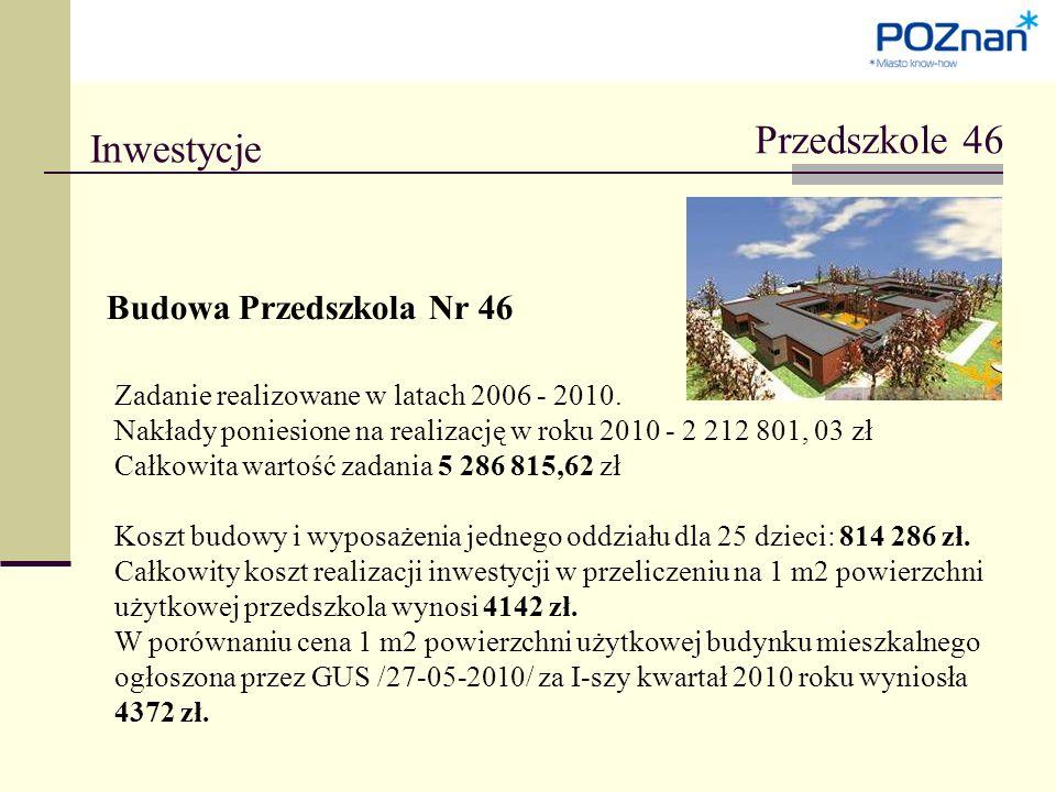 Przedszkole 46 Inwestycje Budowa Przedszkola Nr 46 Zadanie realizowane w latach 2006 - 2010.