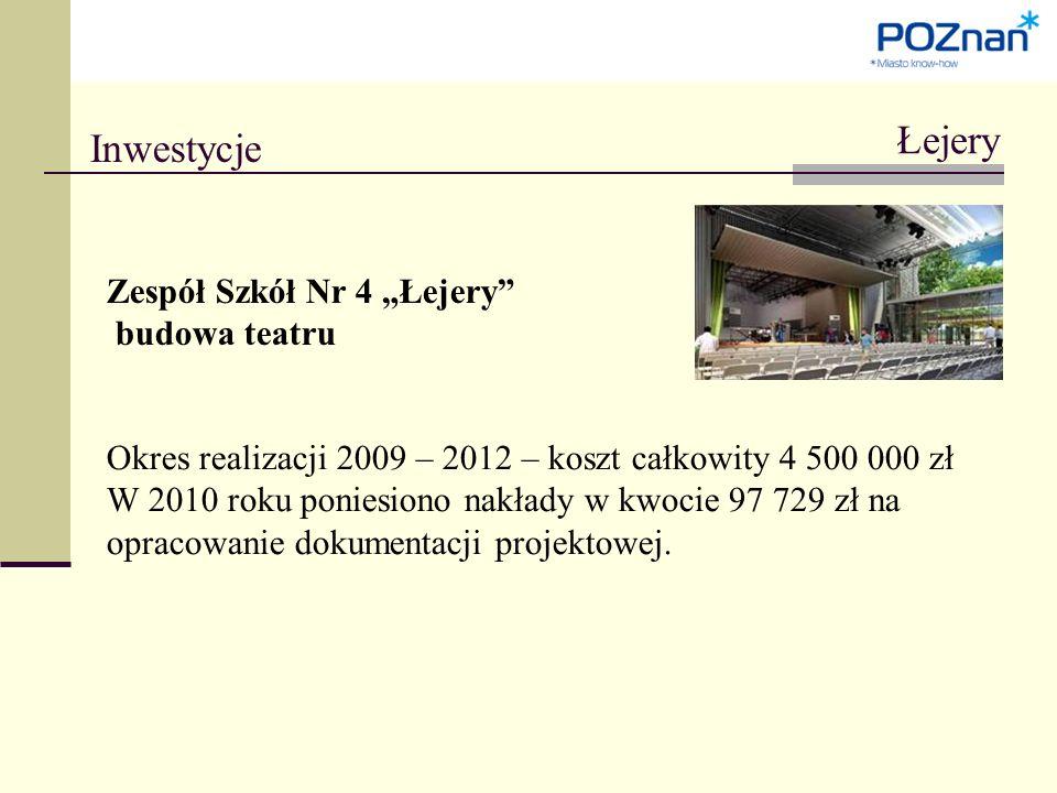 """Inwestycje Łejery Zespół Szkół Nr 4 """"Łejery budowa teatru Okres realizacji 2009 – 2012 – koszt całkowity 4 500 000 zł W 2010 roku poniesiono nakłady w kwocie 97 729 zł na opracowanie dokumentacji projektowej."""