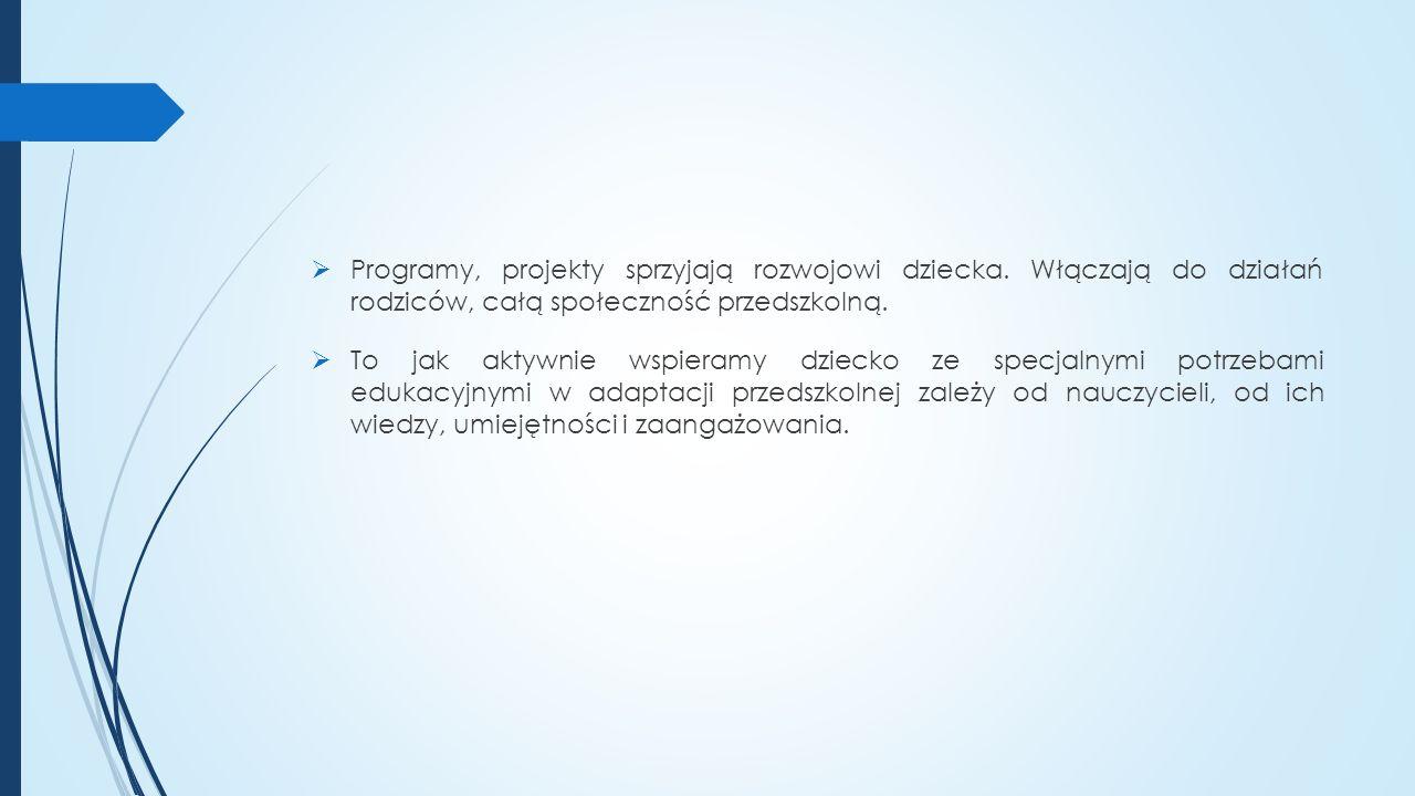  Programy, projekty sprzyjają rozwojowi dziecka.