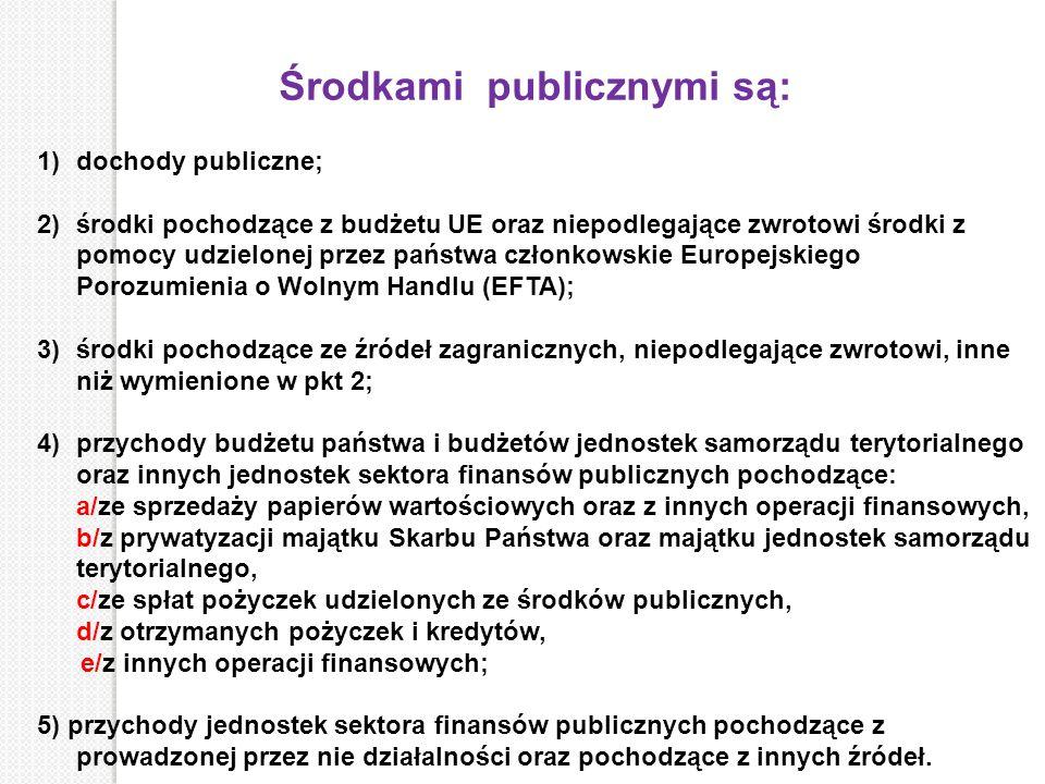 Środkami publicznymi są: 1)dochody publiczne; 2)środki pochodzące z budżetu UE oraz niepodlegające zwrotowi środki z pomocy udzielonej przez państwa c