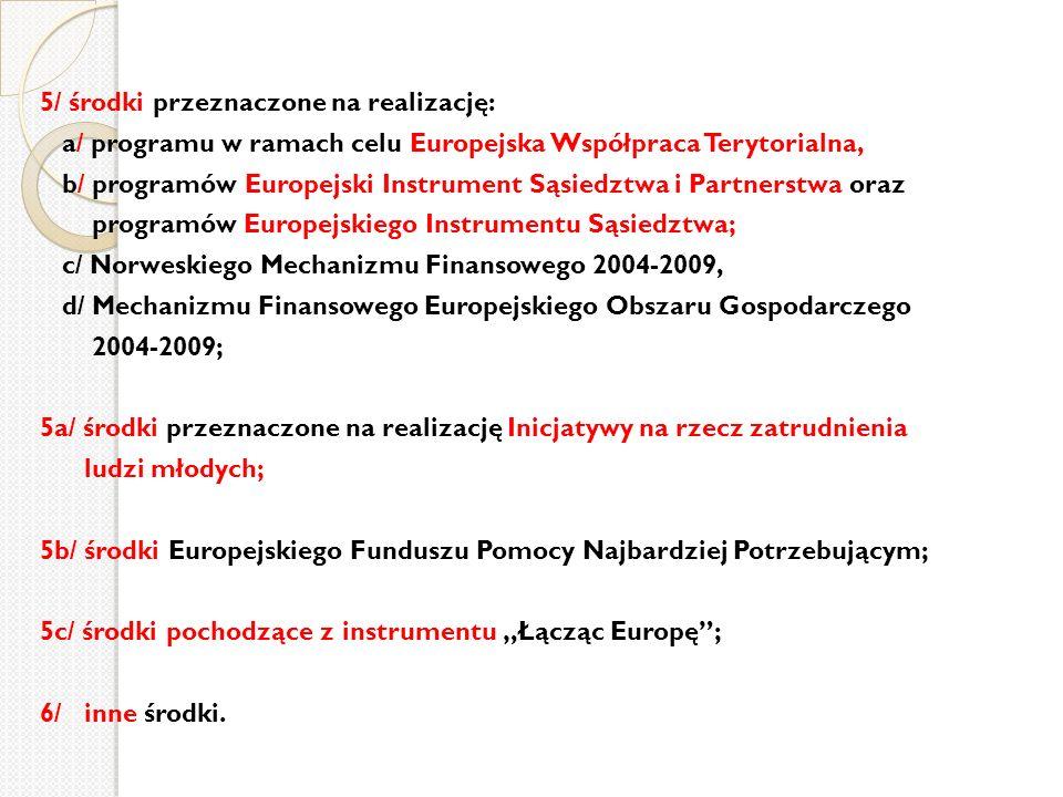 5/ środki przeznaczone na realizację: a/ programu w ramach celu Europejska Współpraca Terytorialna, b/ programów Europejski Instrument Sąsiedztwa i Pa