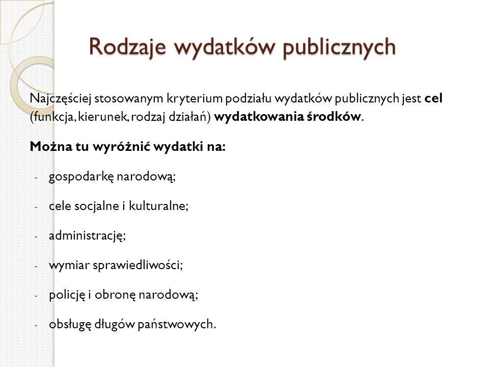 Rodzaje wydatków publicznych Rodzaje wydatków publicznych Najczęściej stosowanym kryterium podziału wydatków publicznych jest cel (funkcja, kierunek,