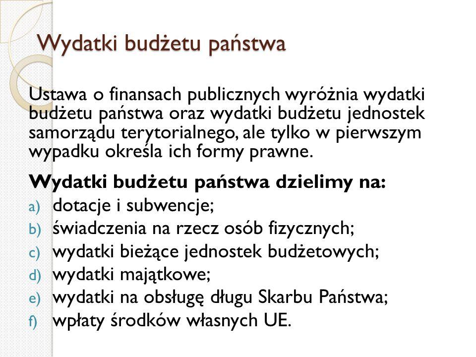 Wydatki budżetu państwa Ustawa o finansach publicznych wyróżnia wydatki budżetu państwa oraz wydatki budżetu jednostek samorządu terytorialnego, ale t