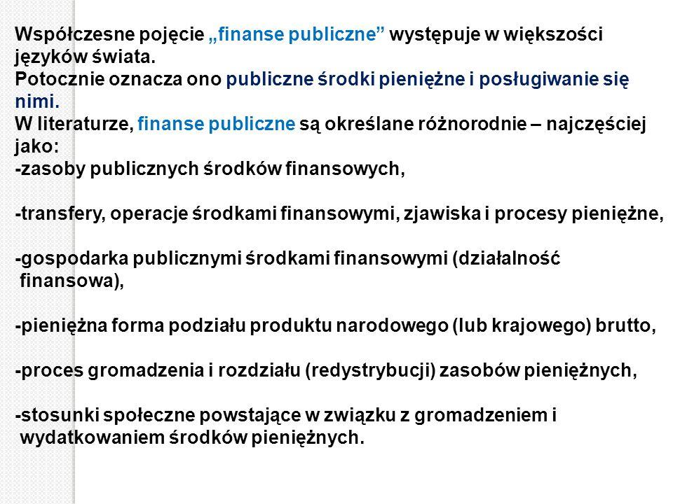 """Współczesne pojęcie """"finanse publiczne"""" występuje w większości języków świata. Potocznie oznacza ono publiczne środki pieniężne i posługiwanie się nim"""