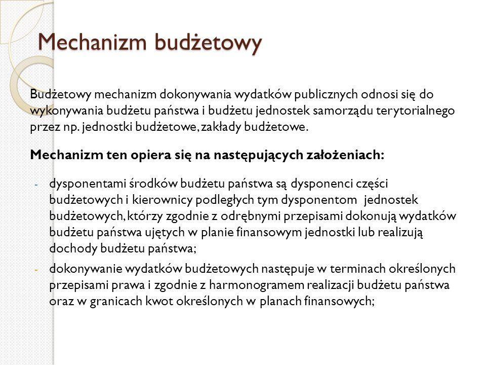 Mechanizm budżetowy Budżetowy mechanizm dokonywania wydatków publicznych odnosi się do wykonywania budżetu państwa i budżetu jednostek samorządu teryt