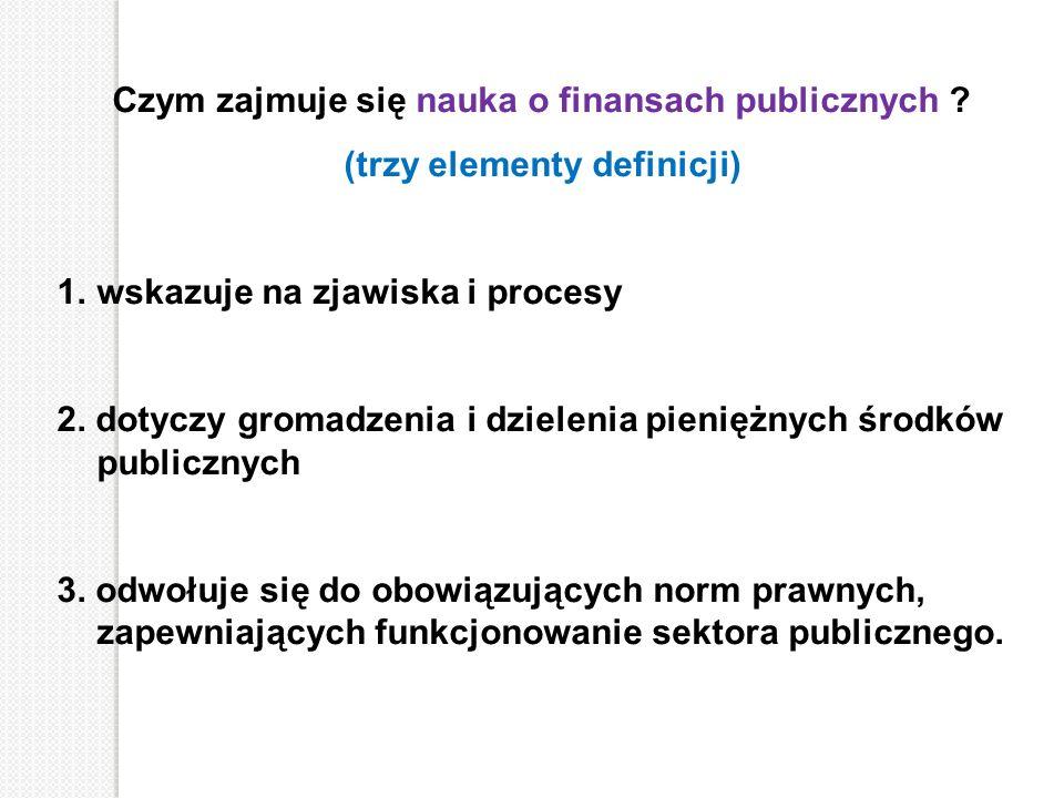 Czym zajmuje się nauka o finansach publicznych ? (trzy elementy definicji) 1.wskazuje na zjawiska i procesy 2. dotyczy gromadzenia i dzielenia pienięż