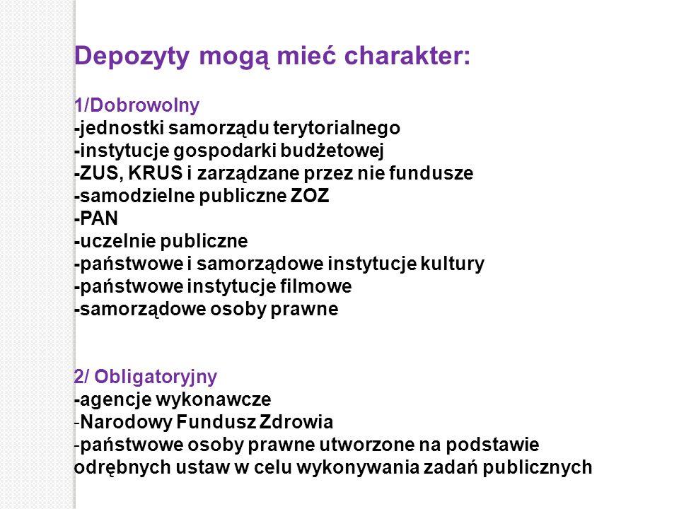 Depozyty mogą mieć charakter: 1/Dobrowolny -jednostki samorządu terytorialnego -instytucje gospodarki budżetowej -ZUS, KRUS i zarządzane przez nie fun