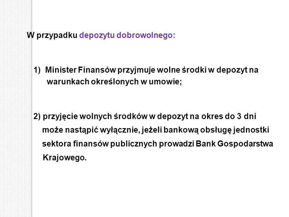 W przypadku depozytu dobrowolnego: 1) Minister Finansów przyjmuje wolne środki w depozyt na warunkach określonych w umowie; 2) przyjęcie wolnych środk