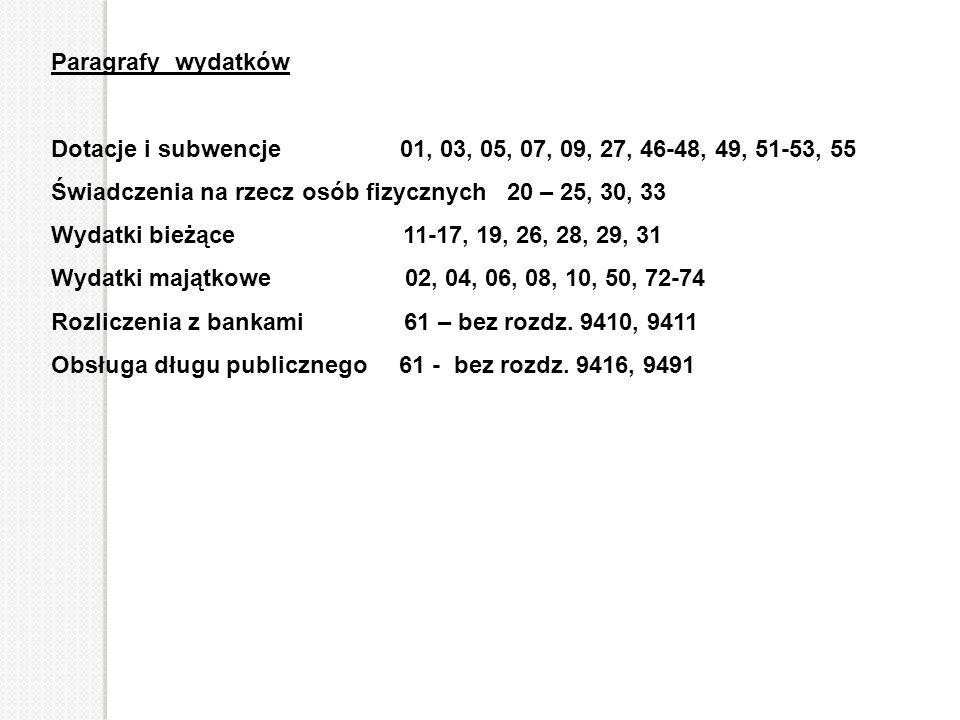 Paragrafy wydatków Dotacje i subwencje 01, 03, 05, 07, 09, 27, 46-48, 49, 51-53, 55 Świadczenia na rzecz osób fizycznych 20 – 25, 30, 33 Wydatki bieżą