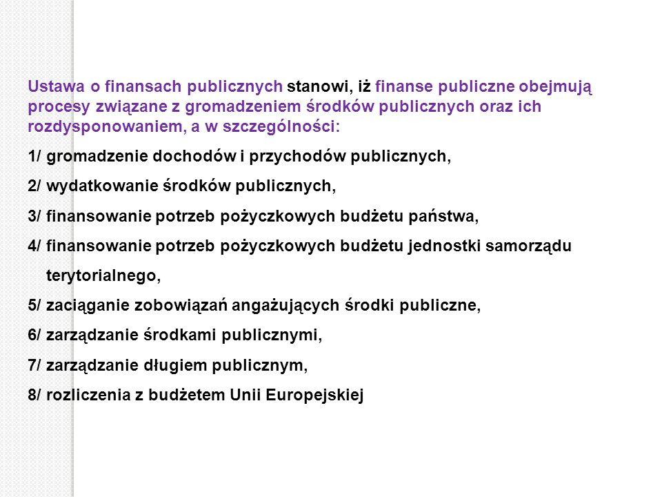 Ustawa o finansach publicznych stanowi, iż finanse publiczne obejmują procesy związane z gromadzeniem środków publicznych oraz ich rozdysponowaniem, a