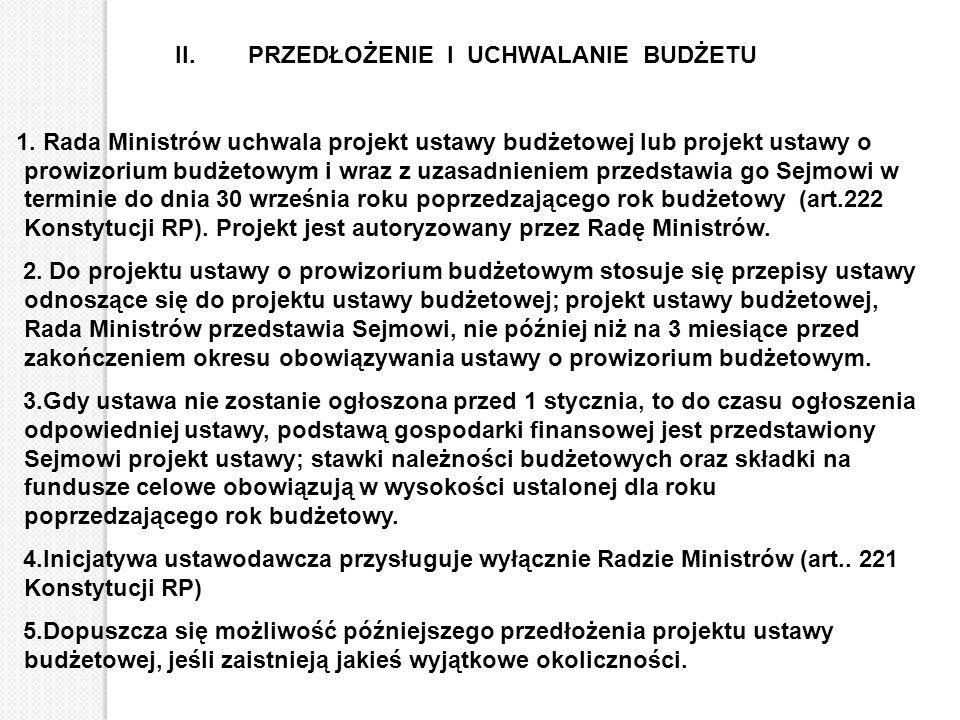 II. PRZEDŁOŻENIE I UCHWALANIE BUDŻETU 1. Rada Ministrów uchwala projekt ustawy budżetowej lub projekt ustawy o prowizorium budżetowym i wraz z uzasadn