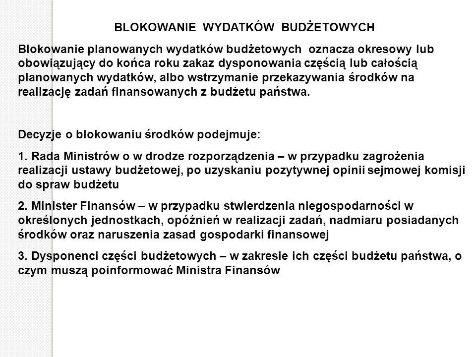 BLOKOWANIE WYDATKÓW BUDŻETOWYCH Blokowanie planowanych wydatków budżetowych oznacza okresowy lub obowiązujący do końca roku zakaz dysponowania częścią