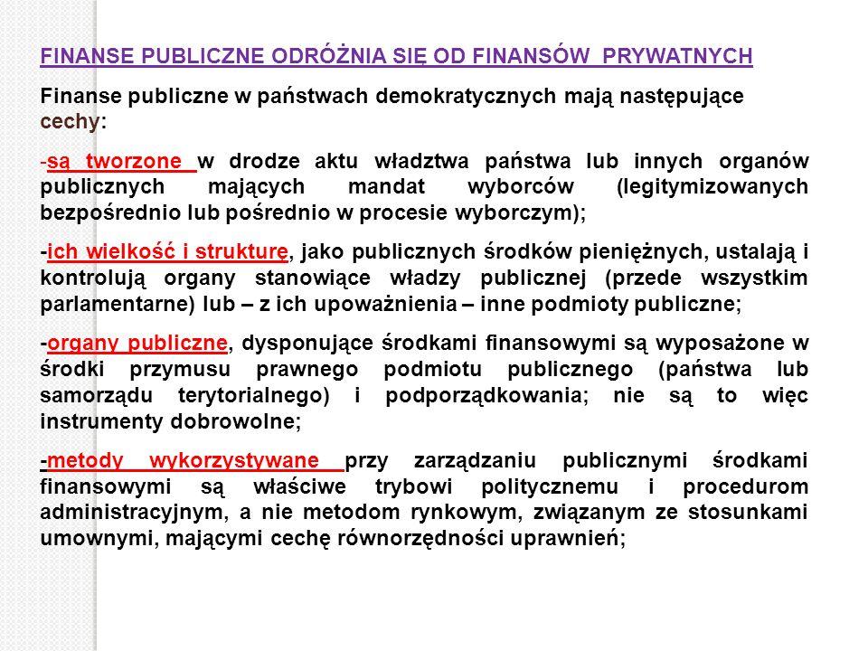 FINANSE PUBLICZNE ODRÓŻNIA SIĘ OD FINANSÓW PRYWATNYCH Finanse publiczne w państwach demokratycznych mają następujące cechy: -są tworzone w drodze aktu